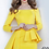 Thumbnail: Jovani 2144 Yellow Off the Shoulder Fitted Evening Dress