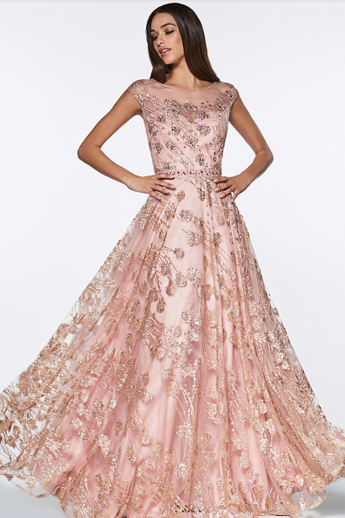 Mignon Manley Glitter Floral Ball Gown