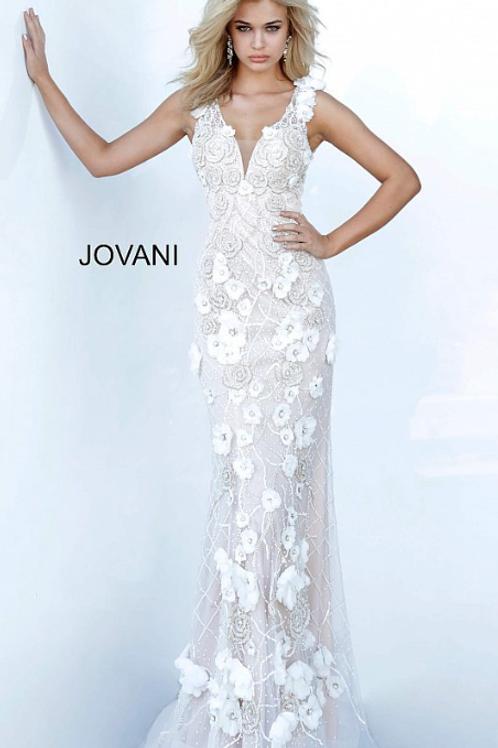 Jovani 02773 Floral Applique Evening Dress