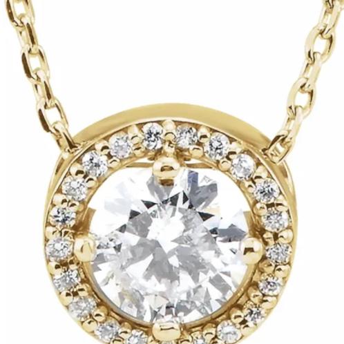 "14K Yellow 1/2 CTW Diamond Halo-Style 16"" Necklace"
