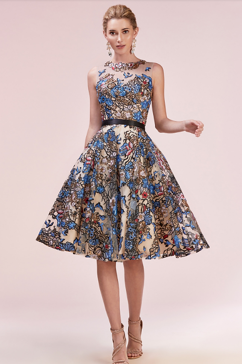 Multi-Colored Embrodiered Tea Length Cocktail Dress