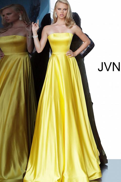 JVN1716 Yellow Satin Strapless A line Prom Dress