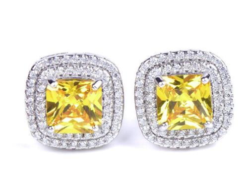 Mignon Manley White Sapphire Sterling Silver Stud Earrings