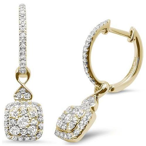Mignon Manley .60ct 14k White Gold Drop Dangle Hoop Diamond Earrings