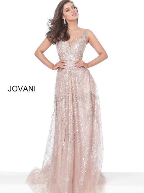 Jovani 03203 Rose Gold Embellished V Neck Mother of the Bride Dress