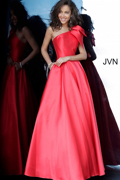 JOVANI JVN4355 Red One Shoulder Pleated Skirt Prom Gown