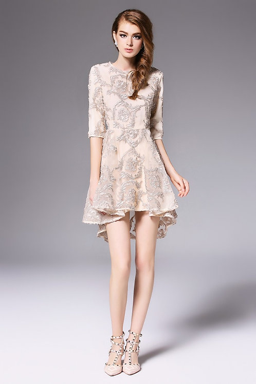 SHORT ELEGANT EMBROIDERED FLAIR DRESS