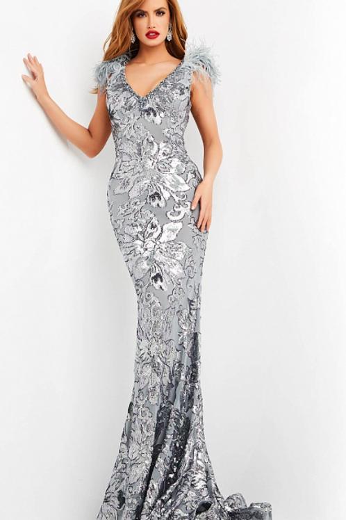 Jovani 04228 Grey Sequin Embellished Evening Dress