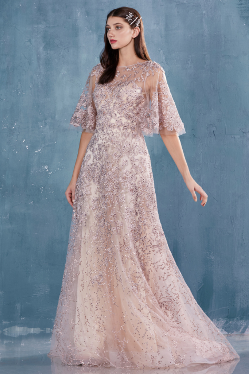 Lace Flutter Sleeve A-Line Gown