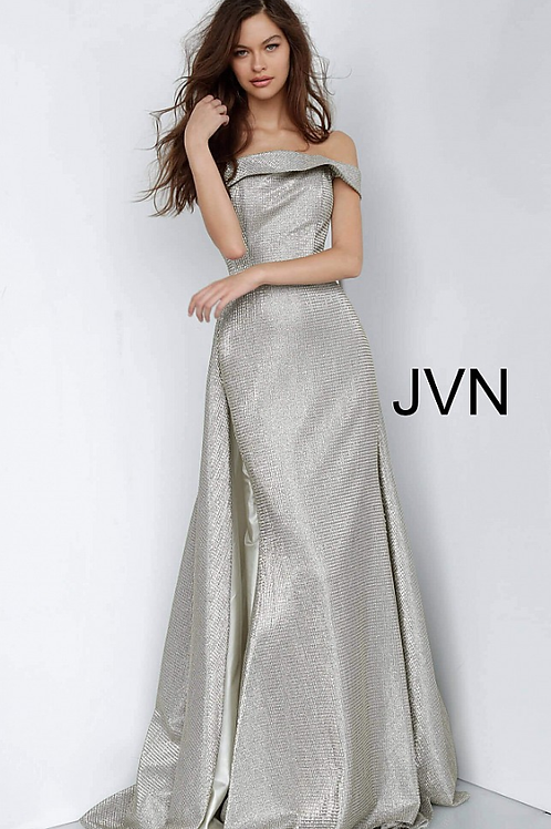 Jovani Light Gold Off the Shoulder Straight Neckline Evening Dress JVN2547