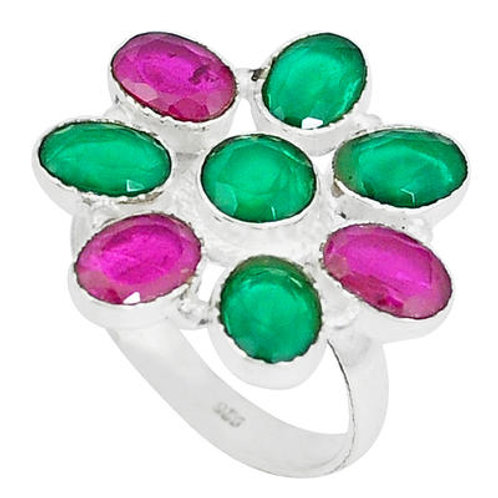 emerald red ruby quartz 925 sterling silver ring size 8.5