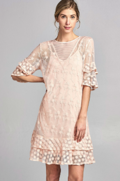 Lace Double Layer Ruffle Detail Dress