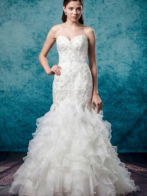 Mignon Manley Mermaid Organza Tulle Bridal Gown