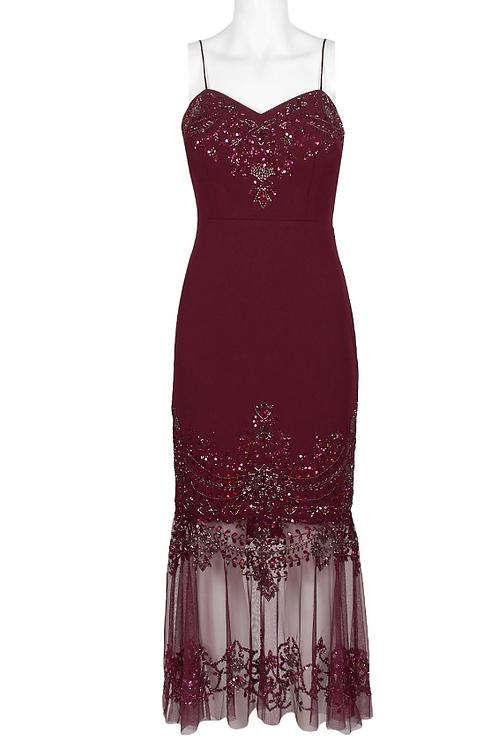 Aidan Mattox Spaghetti Strap Embellished Crepe Dress