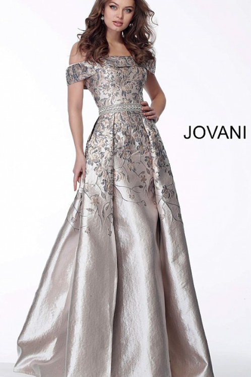 Jovani 68035 Blush Floral Embroidered A Line Evening Dress