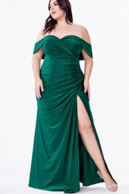 Cinderella Divine Off the Shoulder Fitted Jersey Gown W/Slit & Ruching