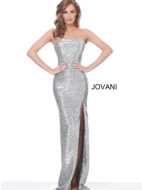 Jovani 02554 Silver Strapless High Slit Evening Dress