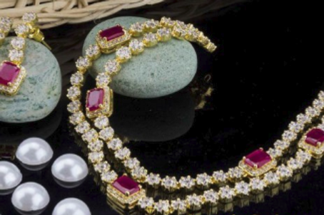 Gold Plated Traditional Pink White Crystal Necklace & Earrings Set