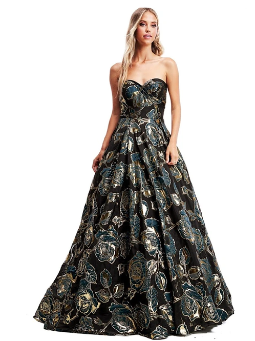 Strapless Sweetheart A-Line Jacquard Gown