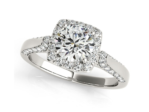 Mignon Manley Halo Diamond Accented Engagement Ring