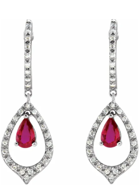 14K White 1/4 CTW Diamond & Ruby Earrings