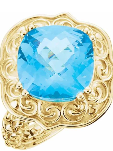 14K Yellow Swiss Blue Topaz Sculptural-Inspired Ring