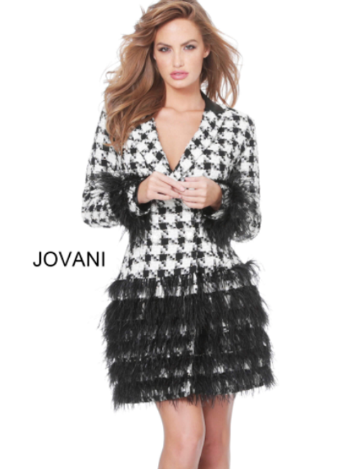 Jovani M1043 Black Ivory Feather Embellished Blazer Dress