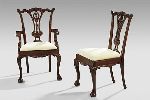 DINING CHAIRS, IRISH CHIPPENDALE SIDE MAHOGANY CHAIRS