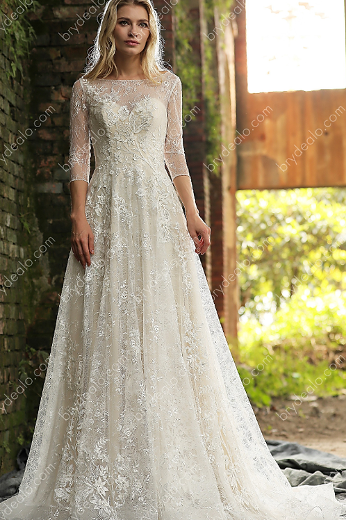 Romantic Strap V-neck Fit & Flare Wedding Dress