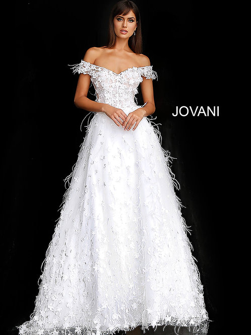 Off White Floral Appliques Off the Shoulder Bridal Gown JB68170
