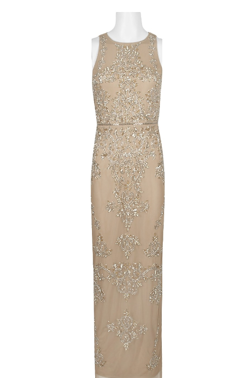 Adrianna Papell Sleeveless Crew Neck Embellished Gown with Matc