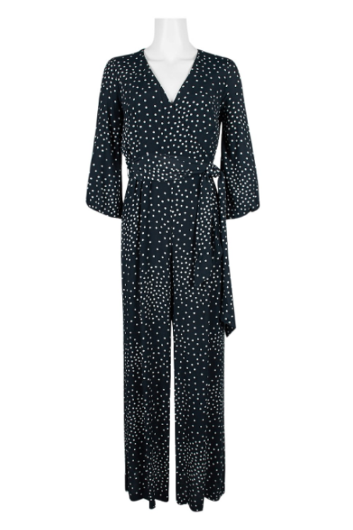 Taylor V-Neck Long Sleeve Tie Side Zipper Back Multi Print Rayon Jumpsuit