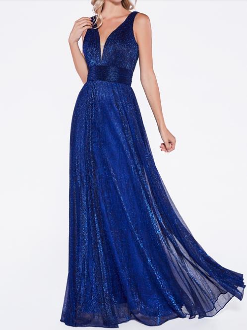 A-line metallic dress with pleats and deep neckline