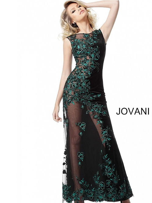 Jovani Black Teal Embroidered Cap Sleeves Couture Dress 63645