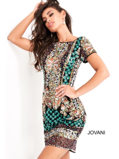 Jovani 2663 Multi Sequin Embellished Cocktail Dress