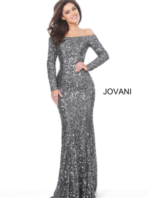 Jovani 61470 Gunmetal Off the Shoulder Sequin Evening Dress