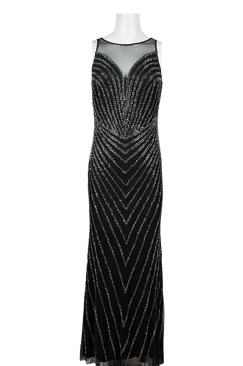Adrianna Papell Boat Neck Sleeveless Illusion Gown