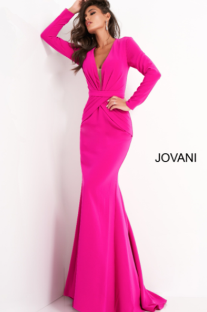 Jovani 1892 Fuchsia Plunging Neckline Evening Dress