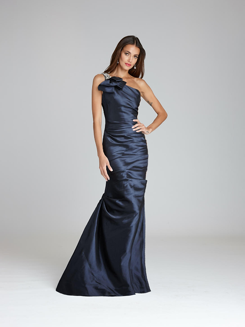 One Shoulder Stretch Metallic Gown