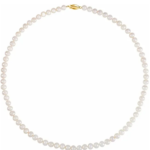 """5.5-6.0 mm White Freshwater Cultured Pearl 18"""" Strand with 14K Yellow Clasp"""