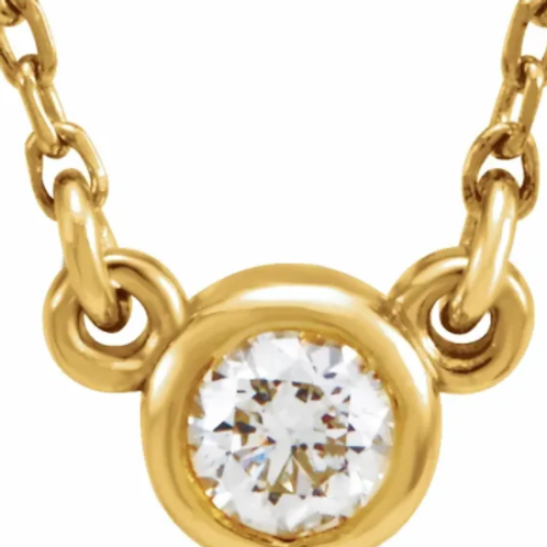 """14K Yellow 1/10 CT Diamond Solitaire 18"""" Necklace"""