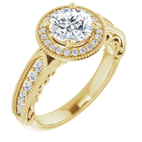 3.5 CT Diamond 14K Yellow Gold Round Vintage-Inspired Halo-Style Engagement Ring