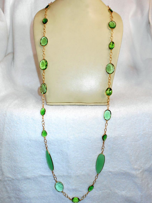 47 inches Gold Plated Hydro Quartz Necklace