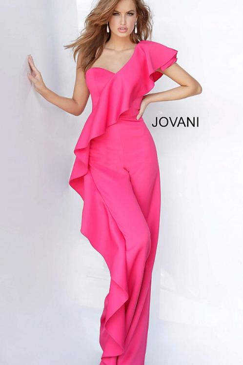One Shoulder Ruffle Jovani Prom Jumpsuit 02617