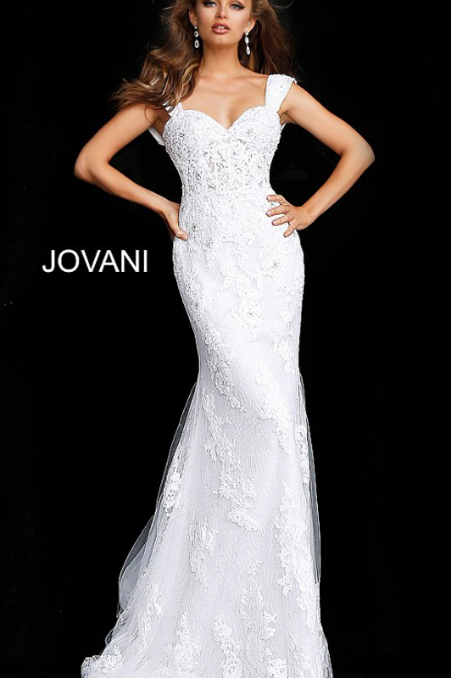 JOVANI Off White Cap Sleeve Embroidered Wedding Gown JB63169