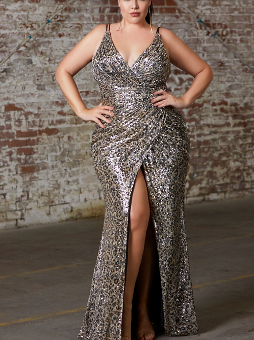 Cinderella Divine Fitted Sequin Leopard Gown With Gathered Waist