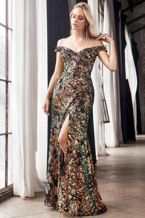 Off Shoulder Sequined A-Line Dress