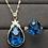 Thumbnail: Natural Blue Topaz 18K Gold Diamond gemstone Necklace & Ring Set