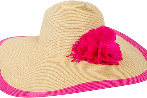 Floppy Hat With Bright Striped Brim Accent