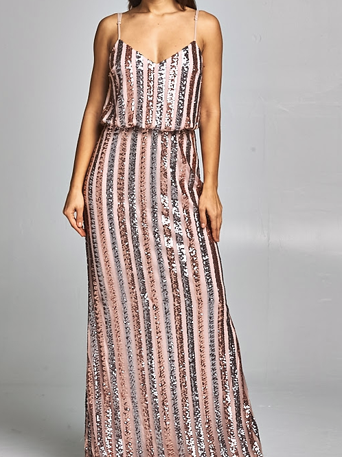SEQUIN MAXI COCKTAIL DRESS